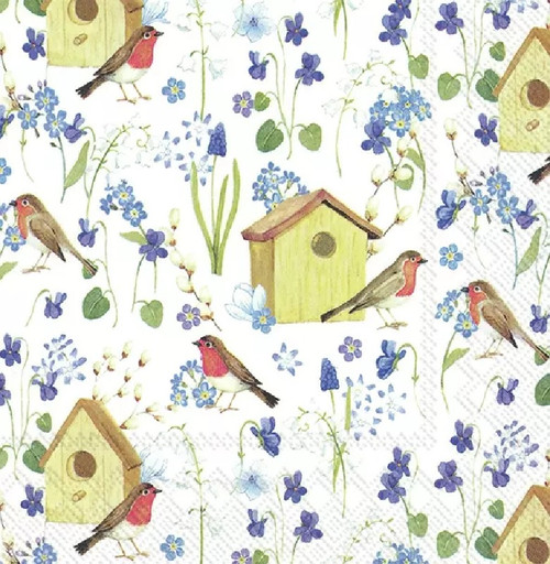 4 Lunch Paper Napkins for Decoupage Party Table Craft Vintage, Birdhouse