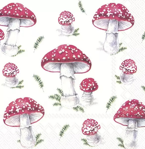 4 Lunch Paper Napkins for Decoupage Party Table Craft Vintage, FAIRY TALE MUSHROOMS