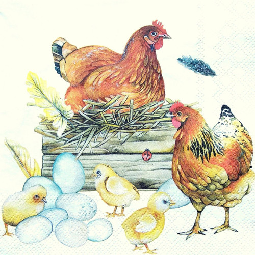 4 Lunch Paper Napkins for Decoupage -  Family of Hens
