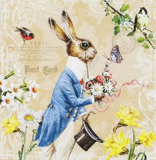 4 Lunch Paper Napkins for Decoupage Party Table Craft Vintage, Mr. Rabbit