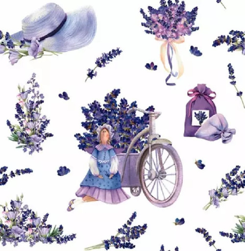 4 Lunch Paper Napkins for Decoupage Party Table Craft Vintage, Lavender Bouquets with Tilda Doll