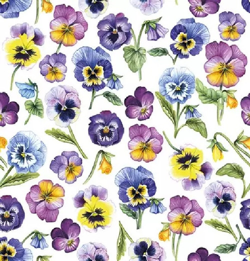 4 Lunch Paper Napkins for Decoupage Party Table Craft Vintage, Pansy All Over