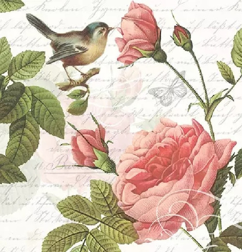 4 Lunch Paper Napkins for Decoupage Party Table Craft Vintage, Sophie Flowers, Birds