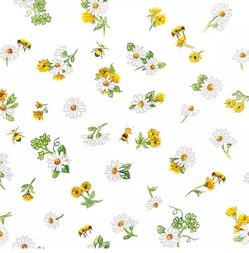 4 Lunch Paper Napkins for Decoupage Party Table Craft Vintage, Daisy All Over, Bees