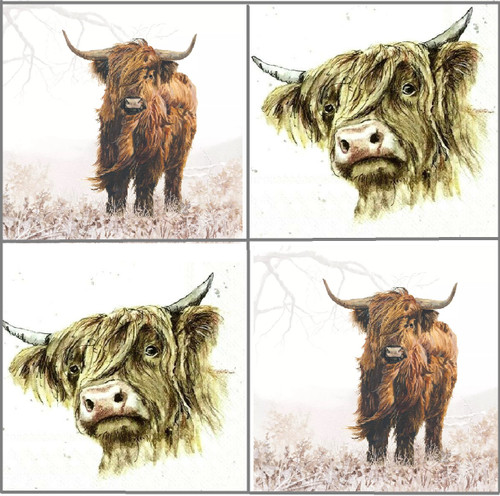 4 Different Vintage Table Paper Napkins for Party Lunch Decoupage Highland Cows, Galloway, Highlander