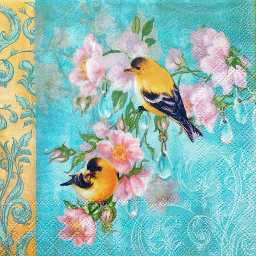 4 Lunch Paper Napkins for Decoupage - Colorful Birds