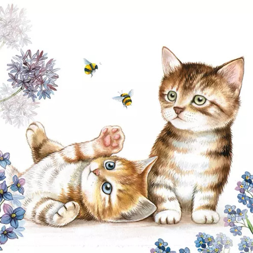 4 Lunch Paper Napkins for Decoupage Party Table Craft Vintage, Cats and Bees Your image was added to the product.