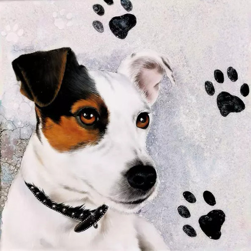 4 Lunch Paper Napkins for Decoupage Party Table Craft Vintage, Dogs, Jack Russel