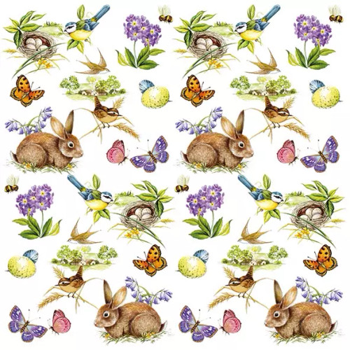 4 Lunch Paper Napkins for Decoupage Party Table Craft Vintage, Rabbits, Easter Feeling