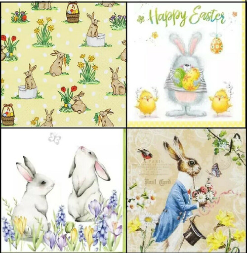 4 x Different, Lunch Paper Napkins for Decoupage, Party, Table, Craft, Rabbits 1