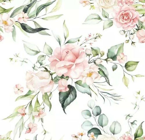 4 Lunch Paper Napkins for Decoupage, Party, Table, Craft, Blush Pink Bouquet