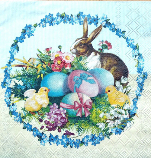 4 Lunch Paper Napkins for Decoupage - Easter Rabbits