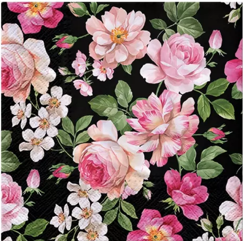 4 Lunch Paper Napkins for Decoupage, Party, Table, Craft, Roses Glory (black)