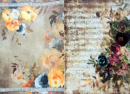 Rice Paper for Decoupage Craft Vintage, Sheet A4, Spring Roses 2