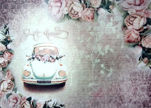 Rice Paper for Decoupage Craft Vintage, Sheet A4, Wedding Car