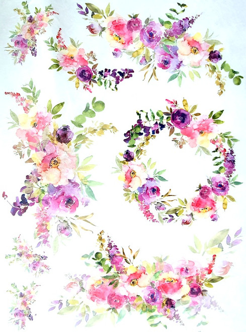 Rice Paper for Decoupage Craft Vintage, Sheet A4, Flower Wreaths