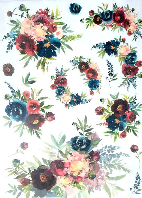 Rice Paper for Decoupage Craft Vintage, Sheet A4, Flower Wreaths 1