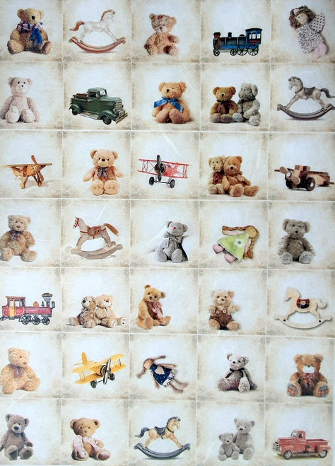 Rice Paper for Decoupage Craft Vintage, Sheet A4, Toys, Teddy Bears, Cars