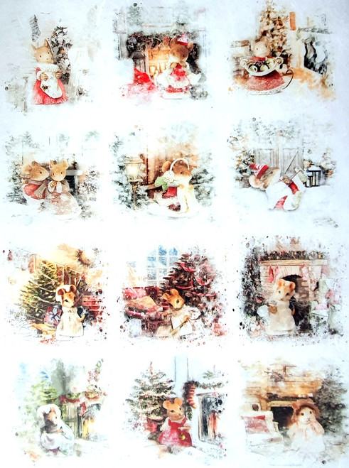 Rice Paper for Decoupage Craft Vintage, Sheet A4, Christmas Mice