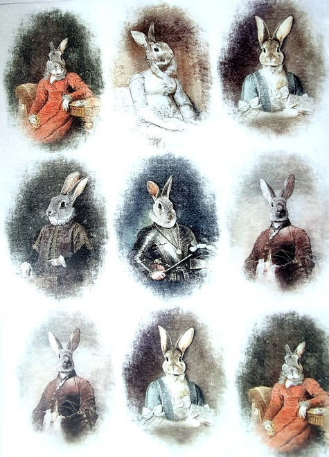 Rice Paper for Decoupage Craft Vintage, Sheet A4, Rabbits