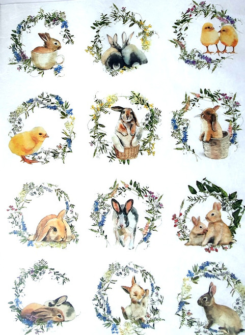 Rice Paper for Decoupage Craft Vintage, Sheet A4, Rabbits, Easter