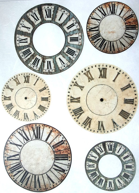 Rice Paper for Decoupage Craft Vintage, Sheet A4, Steampunk, Clocks 1