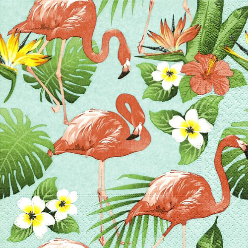 4 Lunch Paper Napkins for Decoupage -  Flamingo Life