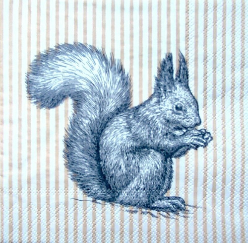 4 Lunch Paper Napkins for Decoupage Party Table Craft Vintage, Etching Squirrel Lines Your image was added to the product.