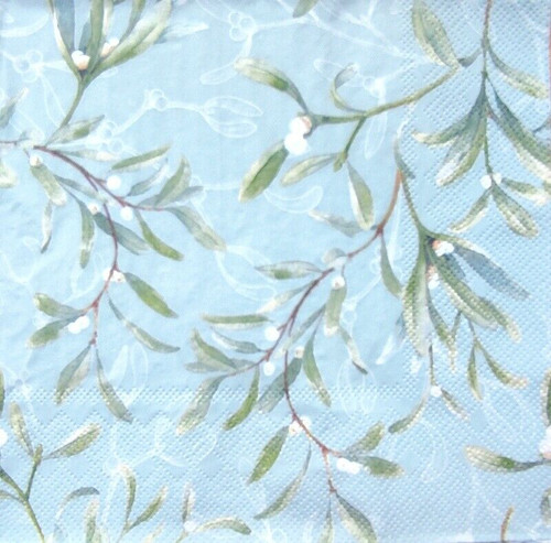 4 Lunch Paper Napkins for Decoupage Party Table Craft Vintage, Mistletoe All Over Green