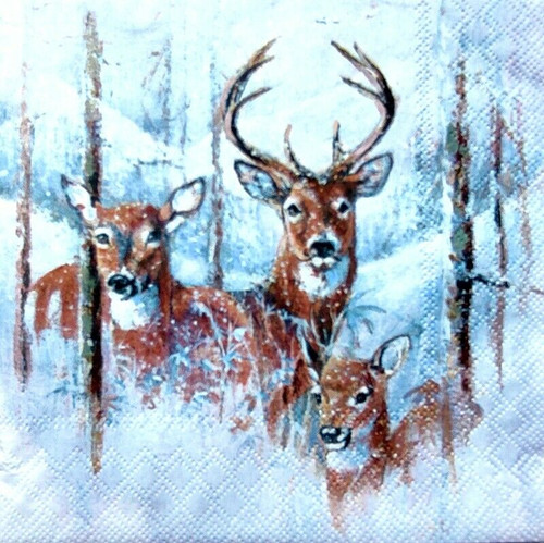 4 Lunch Paper Napkins for Decoupage Party Table Craft Vintage, Deer, Wilderness Stag