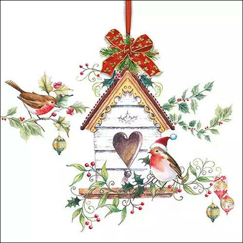 4 Lunch Paper Napkins for Decoupage Party Table Craft Vintage, X-Mas Birdhouse