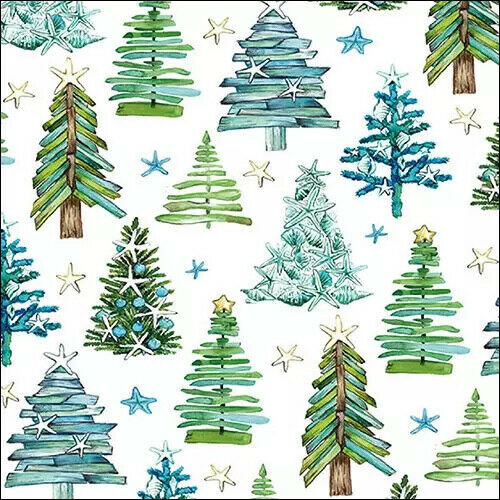 4 Lunch Paper Napkins for Decoupage Party Table Craft Vintage, Tree Pattern Green