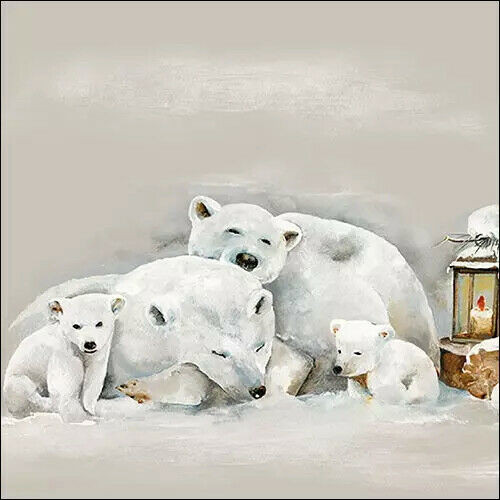 4 Lunch Paper Napkins for Decoupage Party Table Craft Vintage, White Bear, Icebears