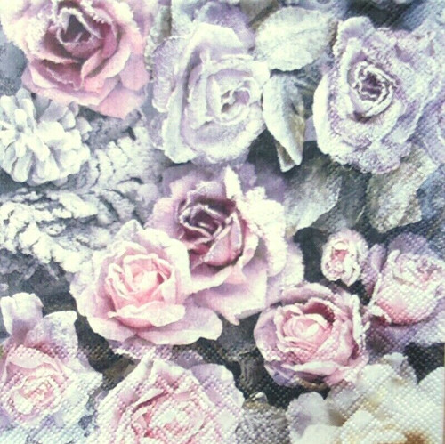4 Lunch Paper Napkins for Decoupage Party Table Craft Vintage, Flowers, Winter Roses