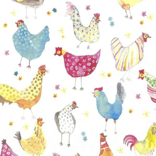 4 Lunch Paper Napkins for Decoupage  - Jolly Hens