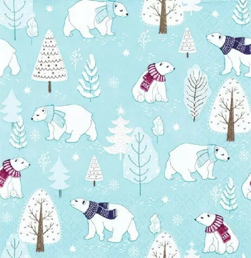 4 Lunch Paper Napkins for Decoupage Party Table Craft Vintage, Cute Polar Bears