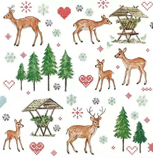 4 Lunch Paper Napkins for Decoupage Party Table Craft Vintage, Charming Deer