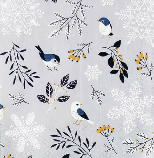 4 Lunch Paper Napkins for Decoupage Party Table Craft Vintage, Birds and Twigs