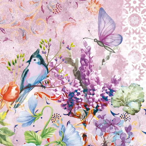 4 Lunch Paper Napkins for Decoupage Party Table Craft Vintage, Birds, Lisette