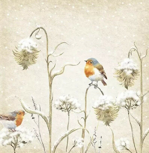 4 Lunch Paper Napkins for Decoupage Party Table Craft Vintage, Robin in Thistles
