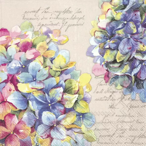 4 Lunch Paper Napkins for Decoupage Party Table Craft Vintage, Hydrangea Pricey linen