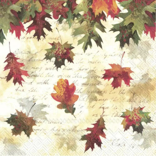 4 Lunch Paper Napkins for Decoupage Party Table Craft Vintage, Falling Leaves