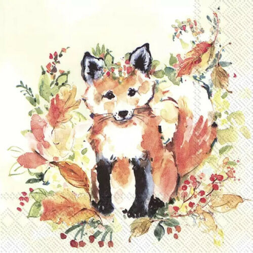 4 Lunch Paper Napkins for Decoupage Party Table Craft Vintage, Animals, Sweet Fox
