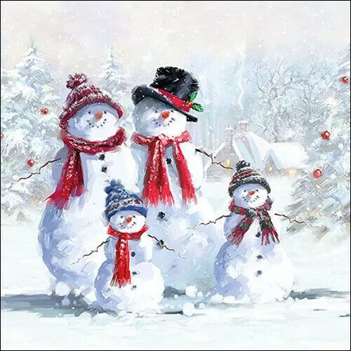 4 Lunch Paper Napkins for Decoupage Party Table Craft Vintage, Snowmen With Hat