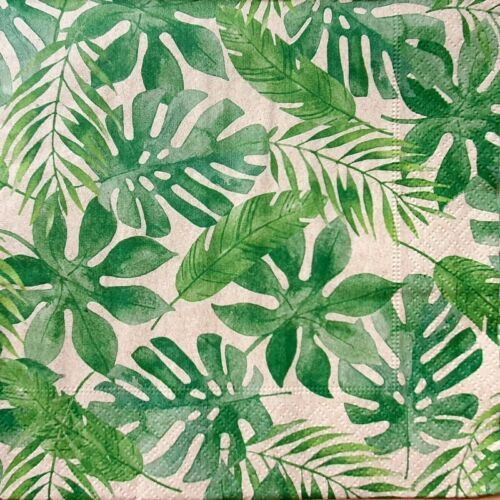 4 Lunch Paper Napkins for Decoupage Party Table Craft Vintage, Green Leaves