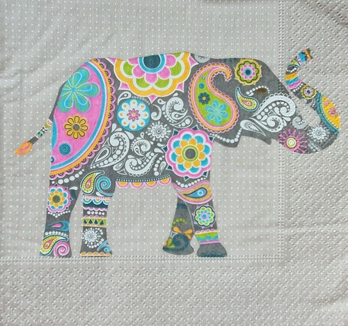 4 Lunch Paper Napkins for Decoupage Party Table Craft Vintage, Boho Elephant