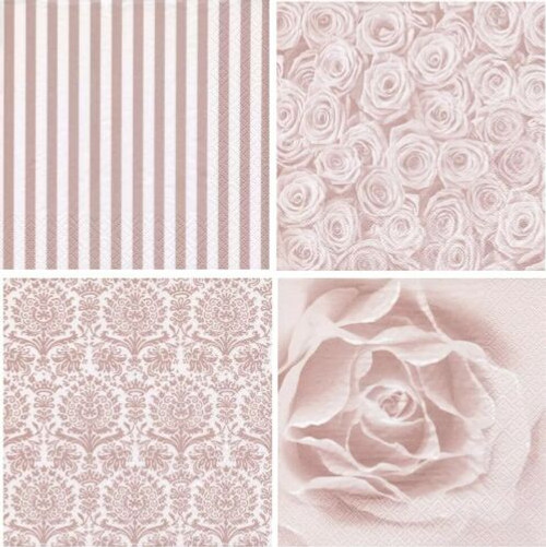 4 Different Vintage Table Paper Napkins for Party Lunch Decoupage, Pink Flo