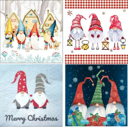 4 Different Vintage Table Paper Napkins for Party Lunch Decoupage, Gnomes