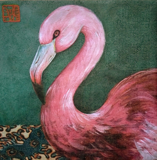 4 Lunch Paper Napkins for Decoupage Party Table Vintage Bird Joli Flamingo