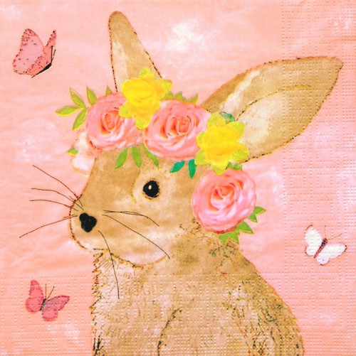 4 Lunch Paper Napkins for Decoupage Party Table Vintage Pink Easter Rabbit